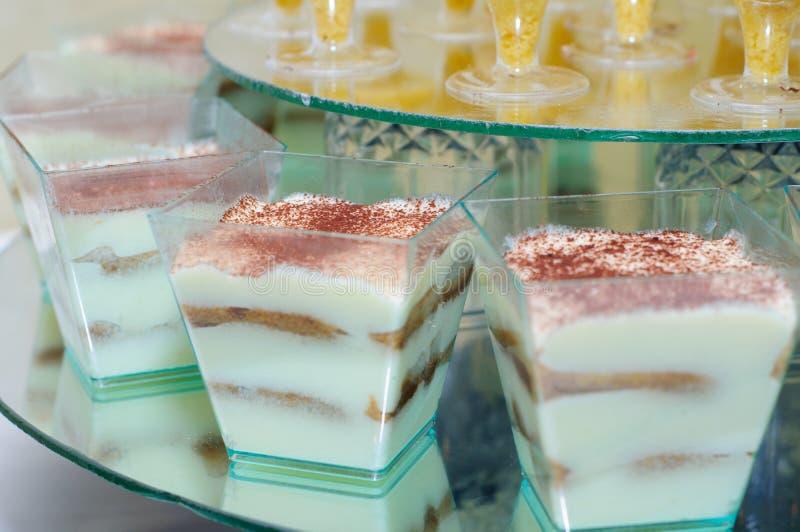 Sweet chocolate sticks. Sweet desserts. Candy Bar. Tiramisu stock photo