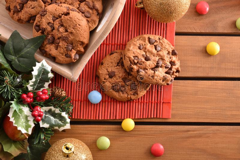 Sweet Christmas dessert with cookies on wood table top stock photo
