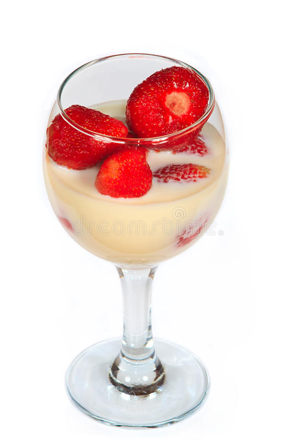 The sweet cocktail with strawberry royalty free stock photo