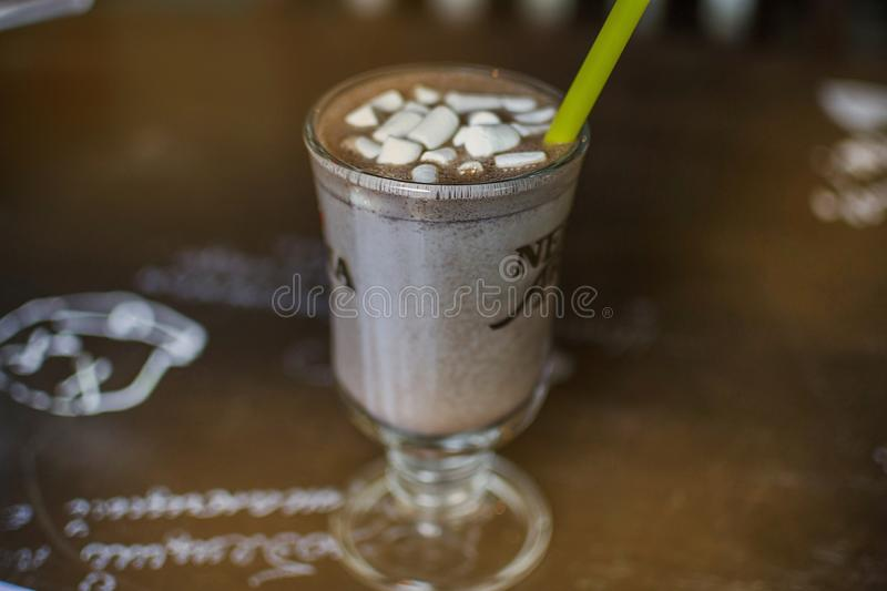 Warm cocoa with marshmallow stock photography