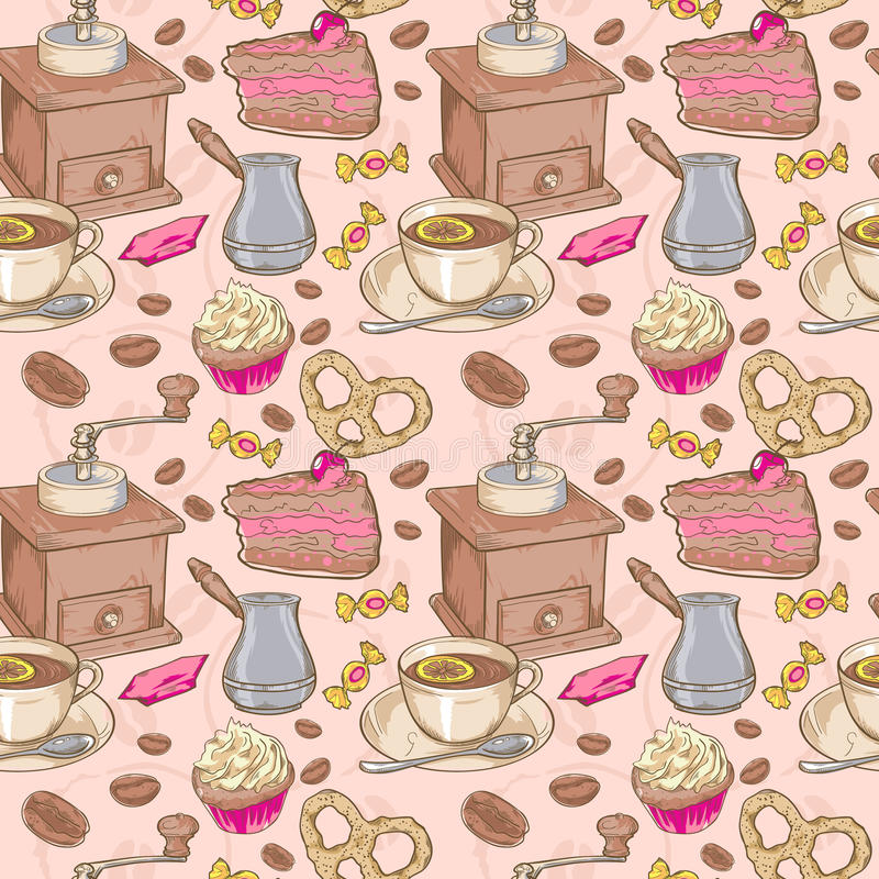Download Sweet Coffee And Candies Seamless Pattern Royalty Free Stock Photos - Image: 30917288