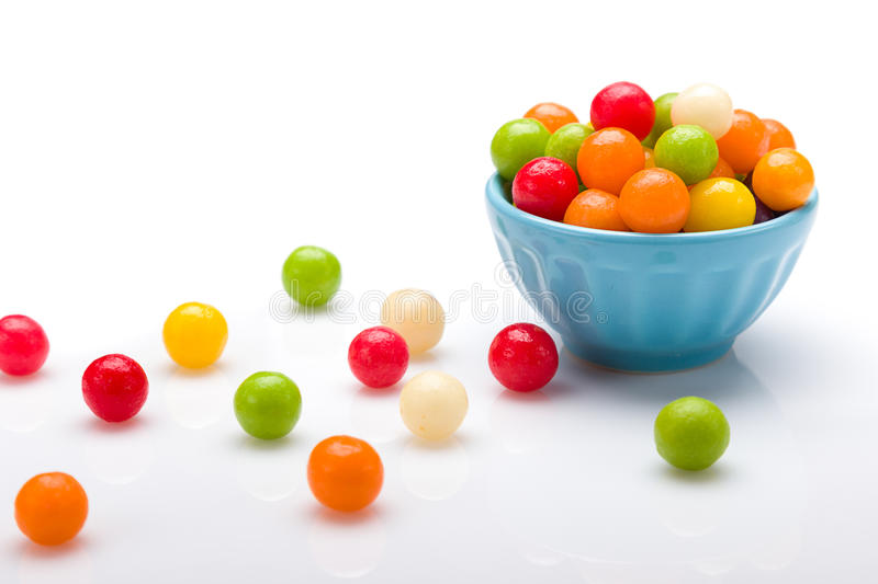 Sweet color candy. Sweet colorful ball candy in pots royalty free stock photo
