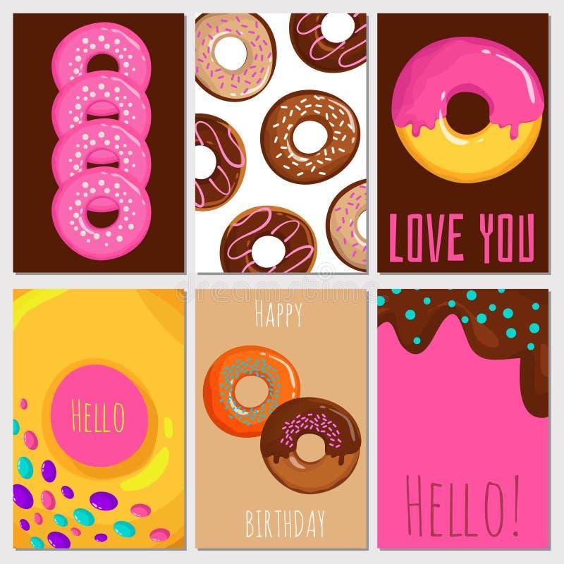 Cute Bakery Shop Logo Template Design Collection Set: Cartoon Glazed Donuts Banner Template Stock Vector