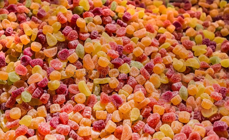 Sweet colored jelly marmelade in a market royalty free stock image