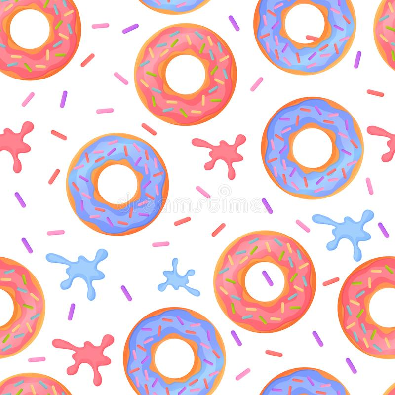 Sweet colorful baked glazed donuts or doughnuts Seamless pattern with sprinkles and splashes royalty free illustration