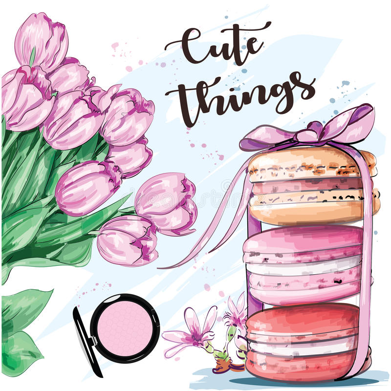 Sweet colorful set with french macaroons and flowers. Sketch. Vector illustration vector illustration