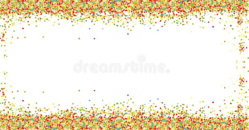 Sweet colorful sugar balls powder frame on white background with copy space. Easter greeting card design element. stock illustration