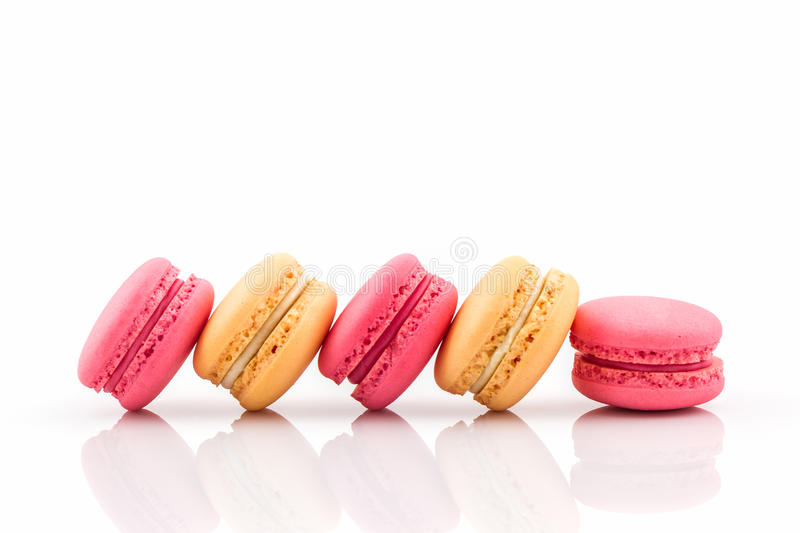 Sweet and colourful french macarons. stock photos
