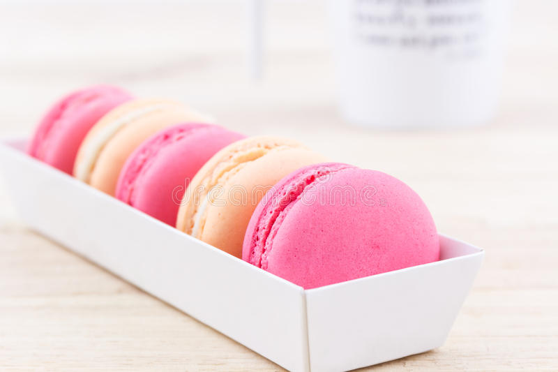Sweet and colourful french macaroons or macaron. royalty free stock photography