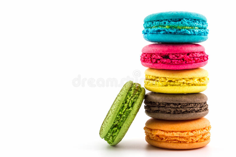 Sweet and colourful french macaroons. stock images