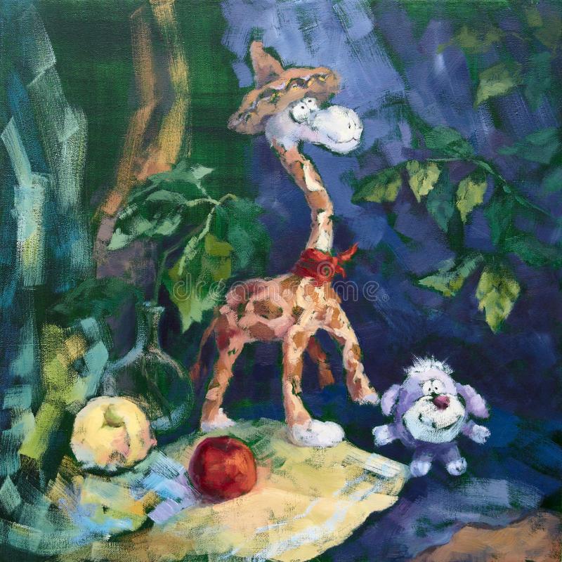 Sweet Company Of Giraffe And Dog Royalty Free Stock Image