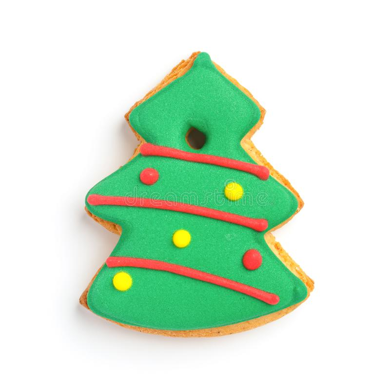 Sweet cookies in the shape of a Christmas tree on a white background royalty free stock photography