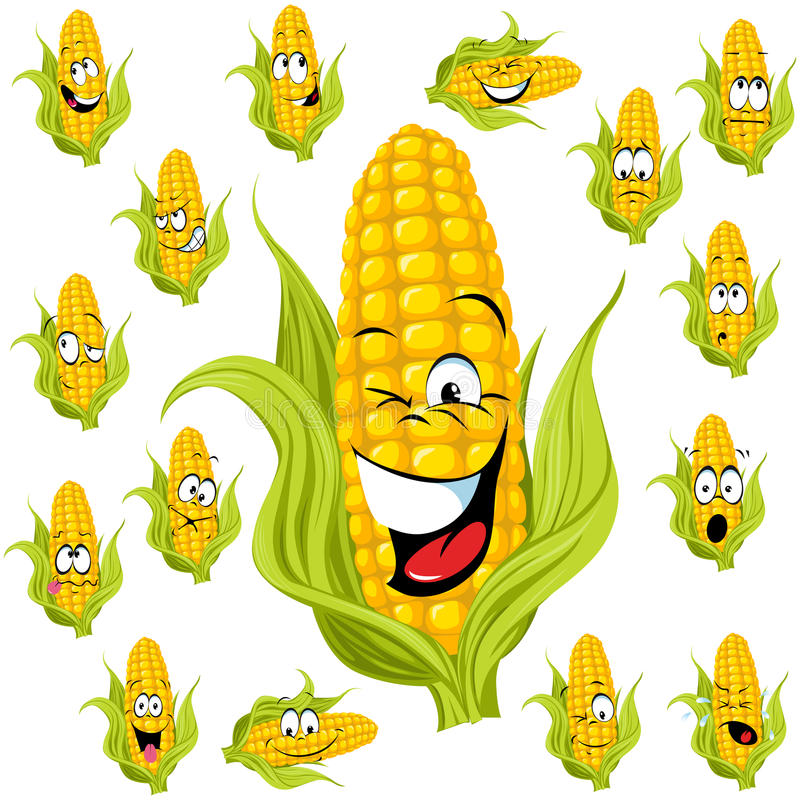 Sweet corn cartoon. With many expressions stock illustration
