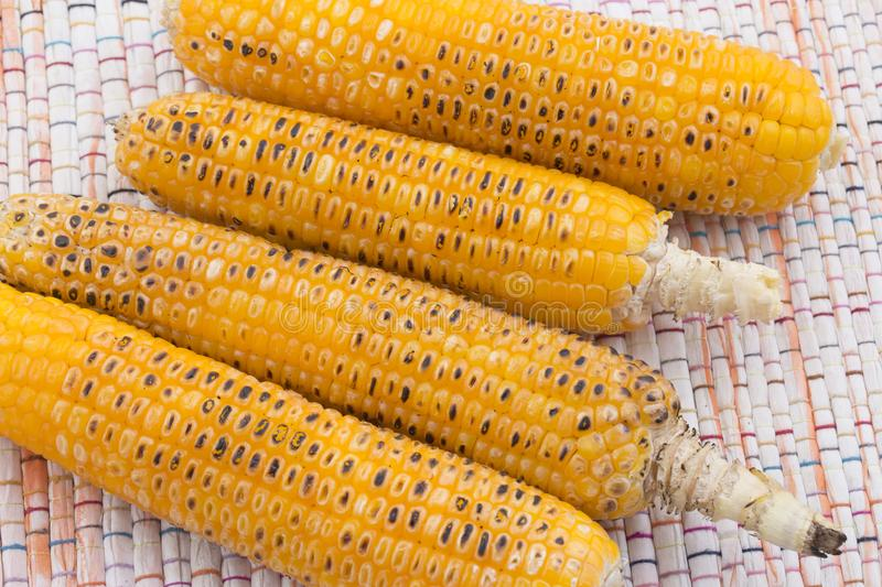 Sweet Corn. Fresh corn on cobs on wooden table, closeup, top view stock photos