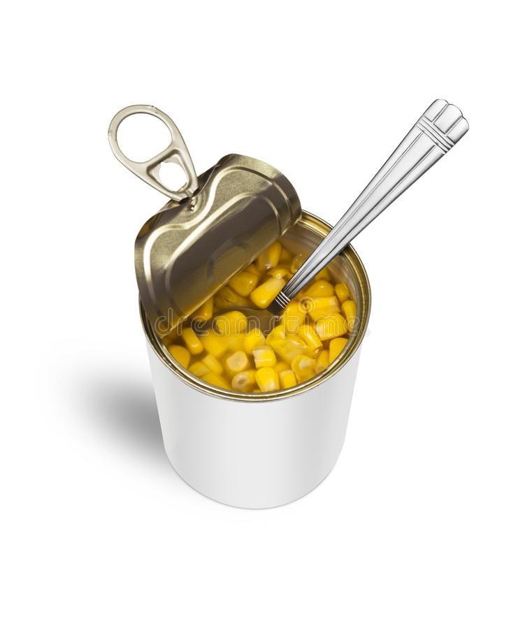 Sweet Corn In An Open Tin Can With A Spoon Stock Photo - Image of ...