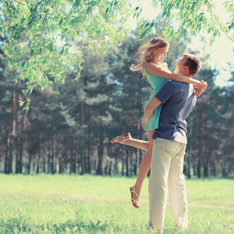 Sweet couple in love in spring day. Sweet couple in love in spring sunny day stock photography