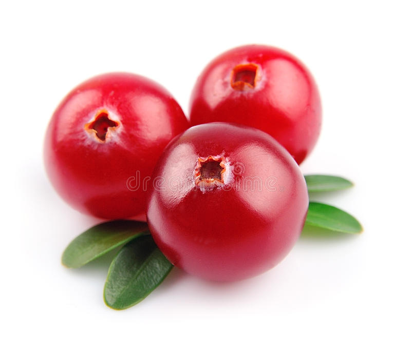 Sweet cranberries. Close up on white royalty free stock photo