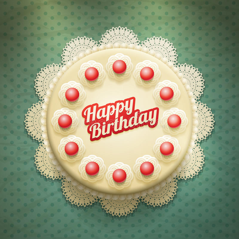 Birthday Cake. Vector birthday cake on lace paper background with copy space for your text. View from above