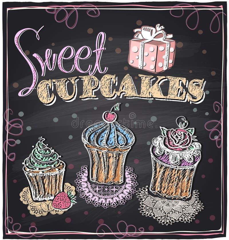 Sweet cupcakes chalkboard. royalty free illustration