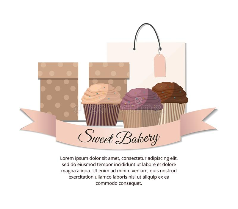 Sweet cupcakes, package and gift. Sweet bakery stock illustration
