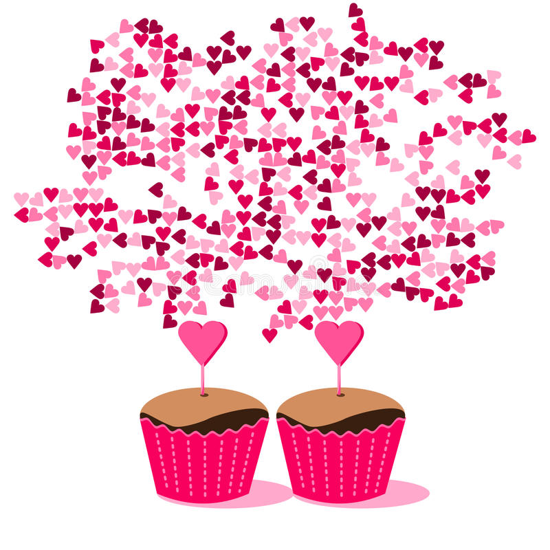 Sweet cupcakes in pink red packaging with many hearts stock photos