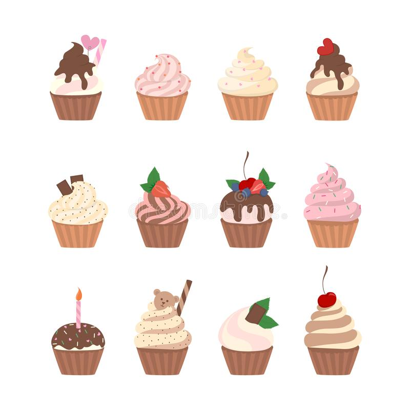 Sweet cupcakes set. Sweet cupcakes set with cream and berries royalty free illustration