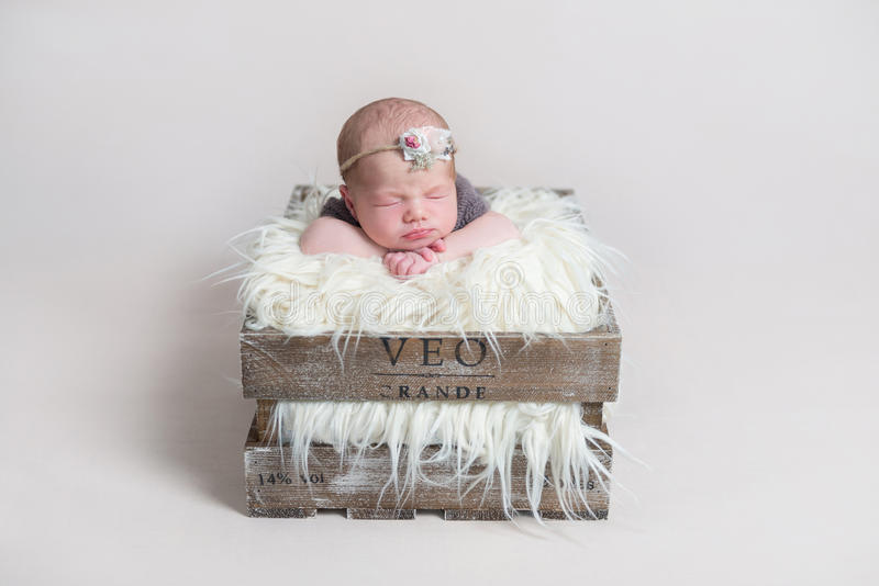 Sweet cute baby girl sleeping on her belly royalty free stock photo
