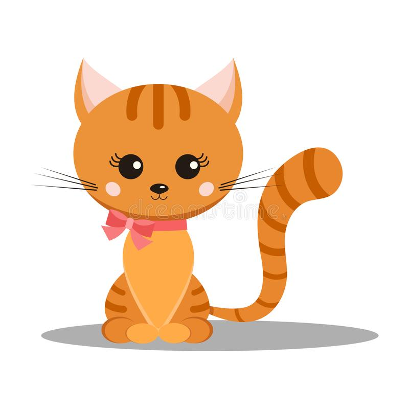 Sweet and cute smiling little ginger striped cat with pink bow on its neck vector illustration