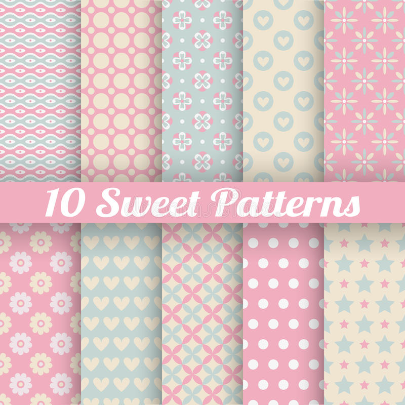 Sweet cute vector seamless patterns (tiling) royalty free illustration