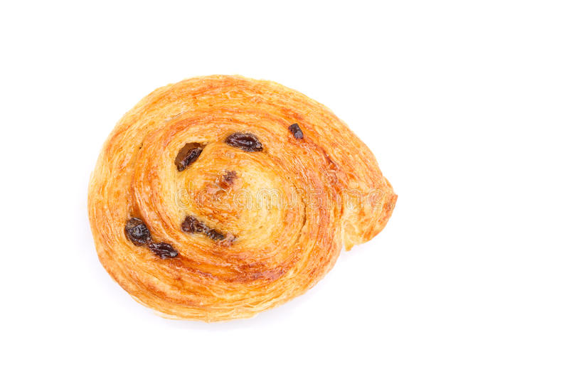 Sweet Danish pastries with custard and raisins isolated on white. Close up sweet Danish pastries with custard and raisins isolated on white background royalty free stock images