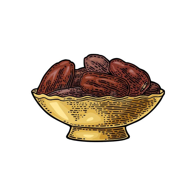 Sweet dates fruit in the bowl. Vector black vintage engraving. Sweet dates fruit in the metal bowl. For poster or banner Ramadan kareem. Vector color vintage royalty free illustration