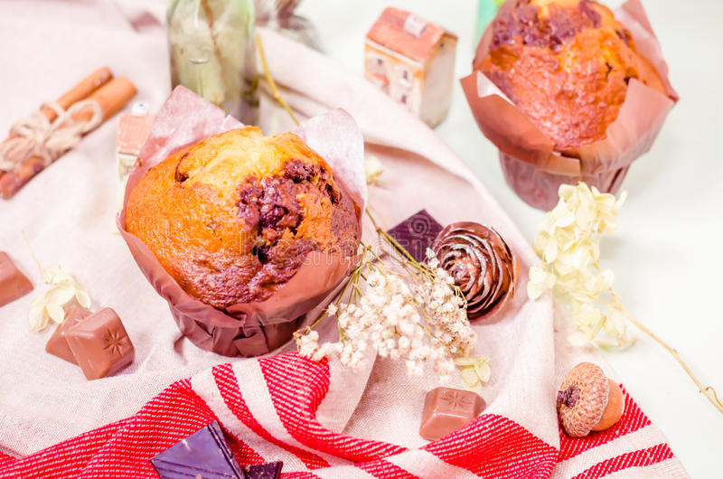 Sweet decoration, chocolate cupcakes and muffins royalty free stock photos