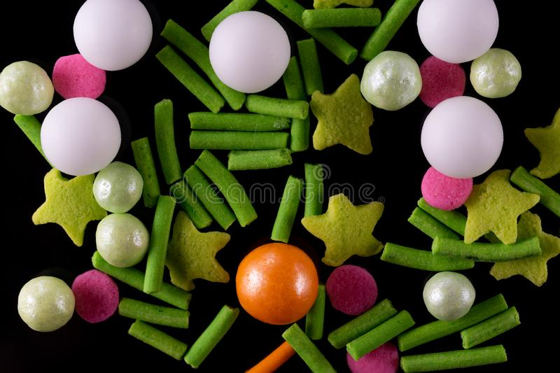 Sweet decoration for confectioners green tones stock images