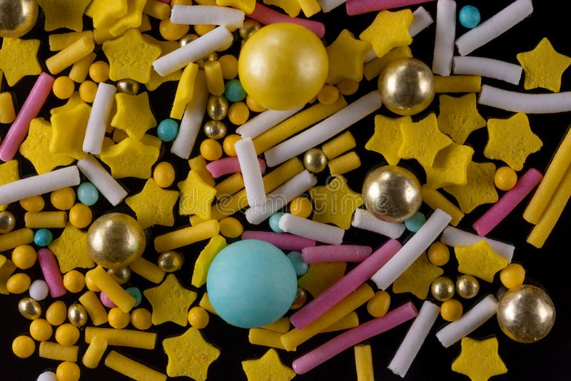 Sweet decoration for confectioners yellow tones royalty free stock photos