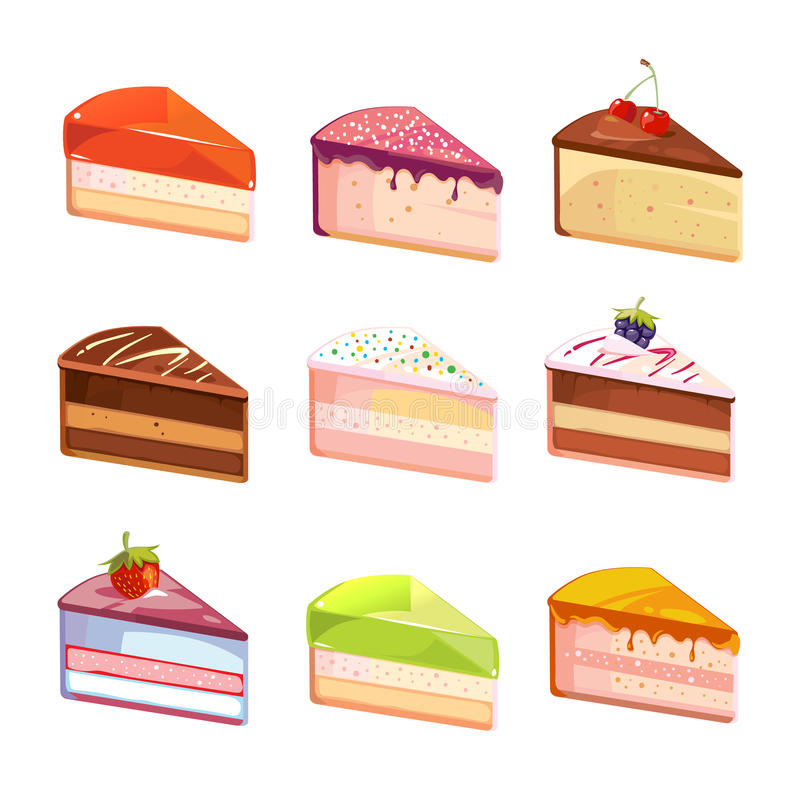 Sweet delicious cake slices pieces vector icons. Dessert of piece, snack with chocolate cream illustration stock illustration