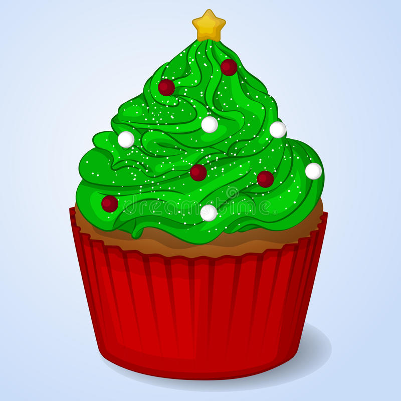 Sweet and delicious Christmas cupcake for New Year design. Simple cartoon style. Vector illustration vector illustration