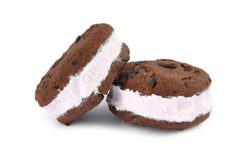 Sweet delicious ice cream cookie sandwiches. On white background stock image