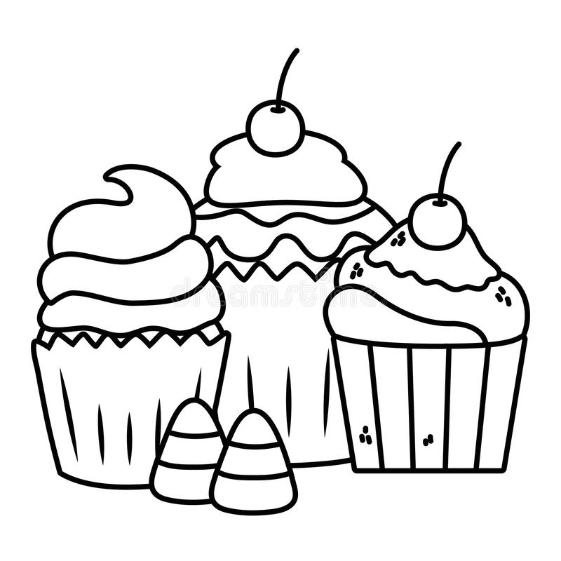 Sweet and delicious muffins design. Sweet muffins design, dessert food delicious sugar snack and tasty theme Vector illustration royalty free illustration