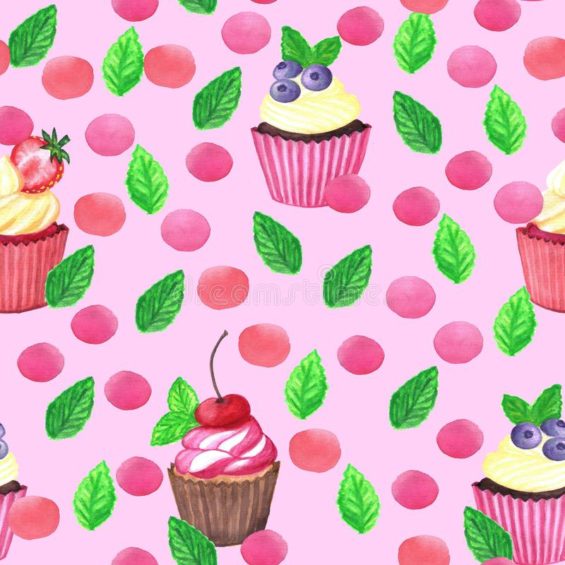 Sweet delicious watercolor pattern with cupcakes. Hand-drawn background. royalty free illustration