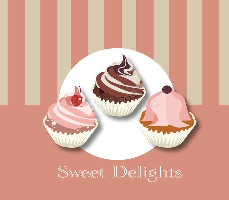 Sweet delights for moments of tenderness. 3 cupcakes in the foreground with a light colored background stock illustration