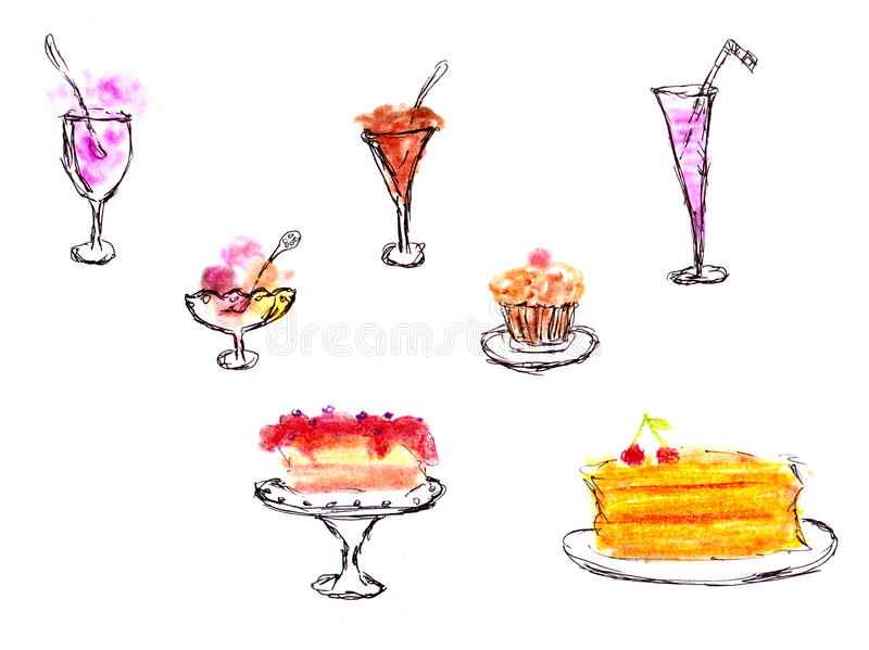 Sweet deserts - hand drawing. Sweet deserts - hand pastels drawing royalty free illustration