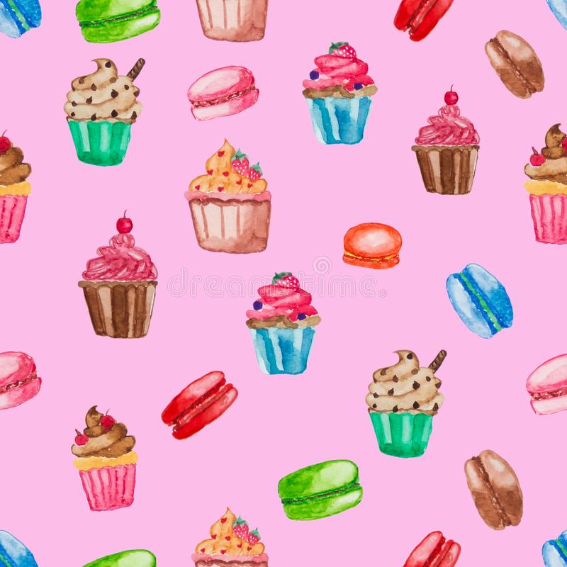 Sweet dessert collection on pink isolate background. Cupcake and macaroon stock image