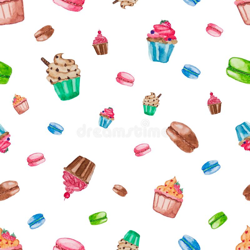 Sweet dessert collection on white isolate background. Cupcake and macaroon. Seamless pattern of water color painted royalty free stock photos
