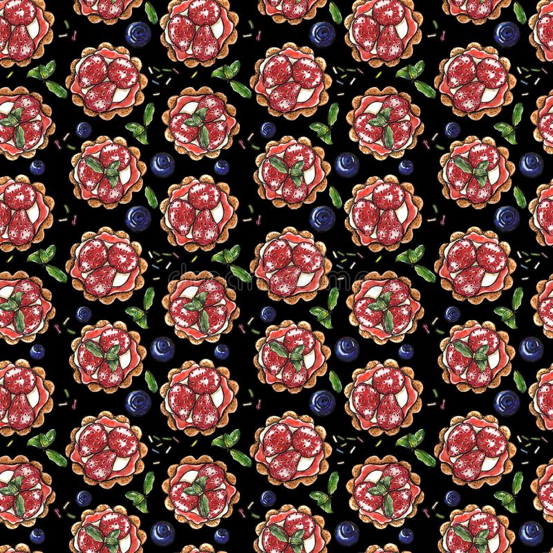 Sweet dessert, cupcake with strawberry and blueberry on black, seamless watercolor pattern royalty free illustration