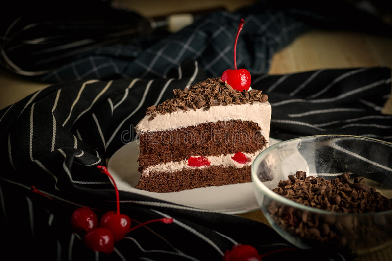 Sweet dessert delicious black forest cake cherry chocolate decor. Ation whipcream cake ,selective focus stock photography