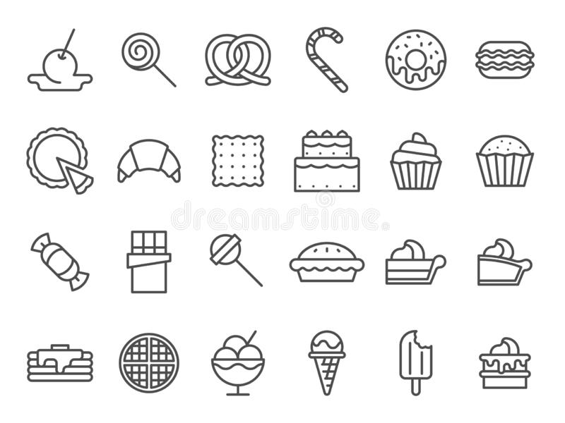 Sweet dessert icons. Sweetly cake, sweets ice cream and muffin cakes. Desserts line art vector icon set royalty free illustration