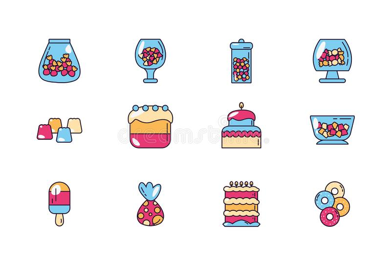 Sweet dessert jar candy and pastry icons set stock illustration