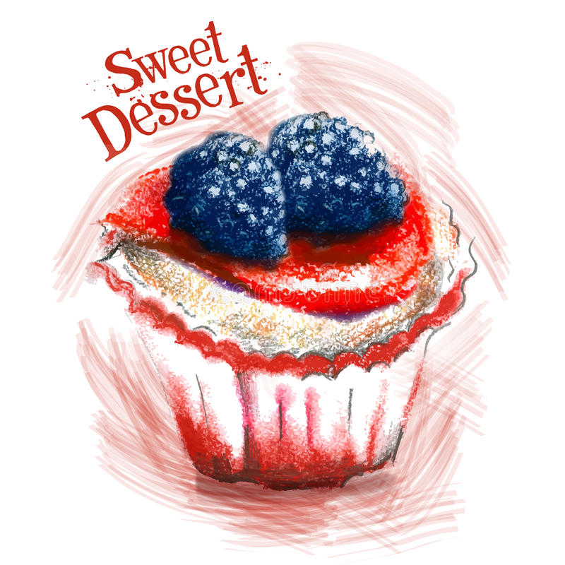 Sweet dessert vector logo design template. cake royalty free illustration