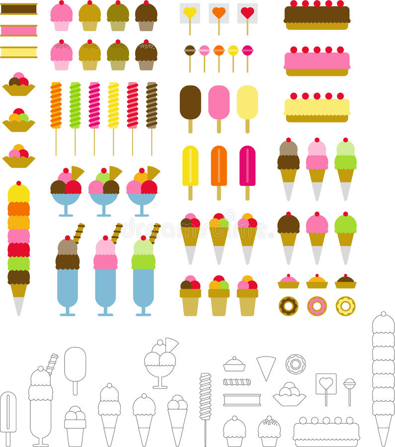 Sweet desserts. Ice cream and other desserts ized vector illustration
