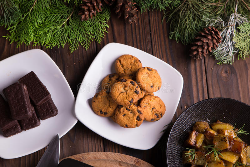 Sweet desserts chocolate cookies and biscuits for holidays: christmas, thanksgiving, new year's eve royalty free stock photos